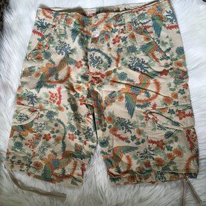 gangster unit floral bird print cargo shorts